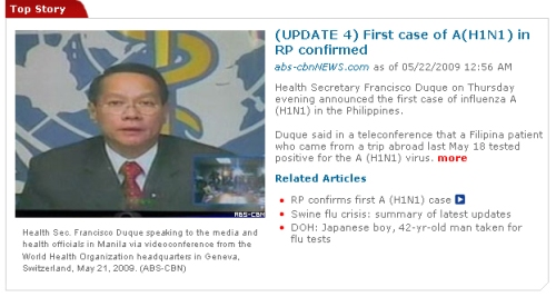 DOH announces confirmed case of H1N1 flu in the Philippines