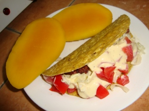 Taco with mangoes